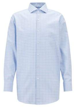 BOSS Hugo Slim-fit shirt in cotton two-colored check pattern 15/R Light Blue