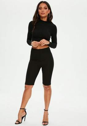 Missguided Petite Black Ribbed Biker Short Co ord