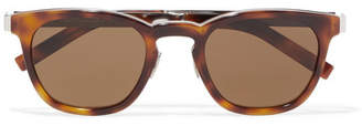 Saint Laurent Round-frame Tortoiseshell Acetate And Silver-tone Sunglasses