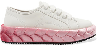 Marco De Vincenzo - Leather And Quilted Velvet Sneakers - Pink $900 thestylecure.com