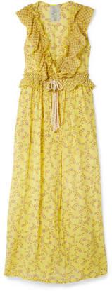 Yvonne S - Marie-antoinette Ruffled Floral-print Linen Maxi Dress - Yellow