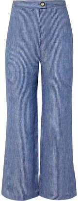 Mara Hoffman Arlene Striped Organic Linen-twill Flared Pants - Blue