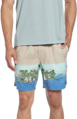 Barney Cools Poolside Ocean Print Drawstring Shorts