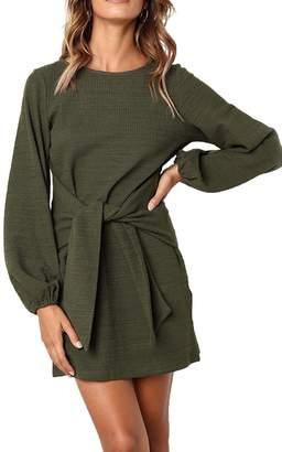 Assivia Womens Dresses Casual Long Sleeve Tie Front Crew Neck Bodycon Mini Dress