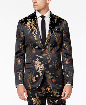 Dragon Optical Tallia Orange Men's Midnight Slim-Fit Jacquard Suit Jacket