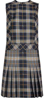 Burberry Sleeveless Pleat Detail Check Dress