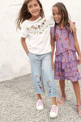 Next Girls Denim Light Blue Embroidered Culottes (3-16yrs)