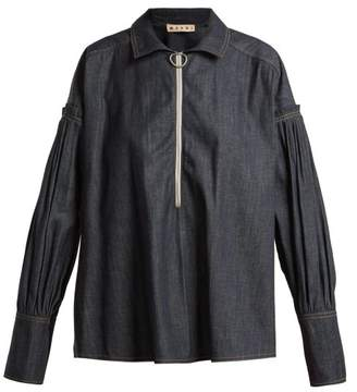 Marni Pleated Denim Shirt - Womens - Dark Indigo