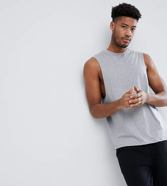 Asos Design TALL Sleeveless T-Shirt With Dropped Armhole In Grey Marl