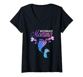 Womens Mermaid Momma Mermaid Birthday Party Mother's Day V-Neck T-Shirt
