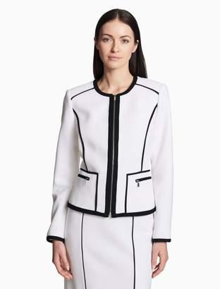 Calvin Klein piped zip front jacket