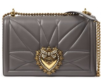 Dolce & Gabbana Large Devotion Bag In Lead Color Quilted Nappa Leather