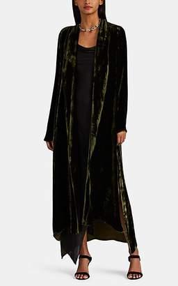 Juan Carlos Obando Women's Crushed Velvet Long Robe - Olive