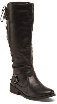 Double Buckle Back Lace Knee High Boots