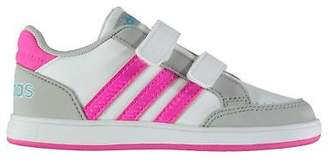 adidas Girls Hoops CMF Trainers Shoes Baby Touch and Close Padded Ankle Collar