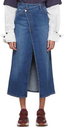 Stella McCartney Blue Cross-Over Denim Skirt