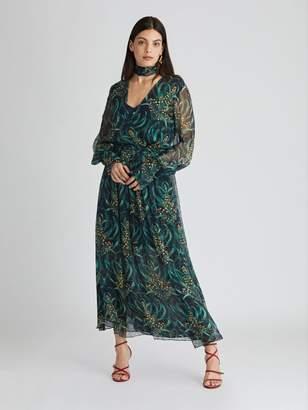 Oscar de la Renta Mimosa Stems Chiffon Dress