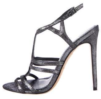 Brian Atwood Metallic Ankle Strap Sandals