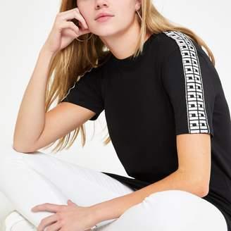 River Island Womens Black RI diamante trim jumbo T-shirt