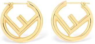 Fendi Small Logo Circle F Metal Earrings