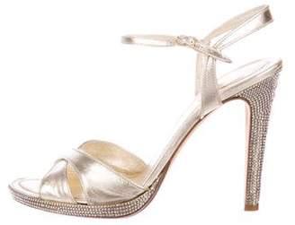 Rene Caovilla Embellished Metallic Sandals
