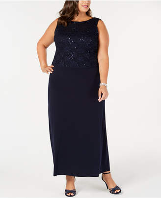 Connected Plus Size Embellished Lace-Popover Gown
