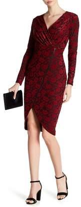 Rachel Roy Long Sleeve Floral Asymmetrical Zip Front Dress