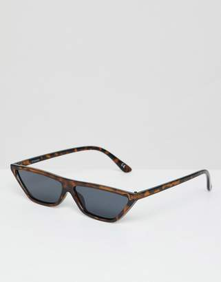Cat Eye ASOS DESIGN small flat brow sunglasses in tort
