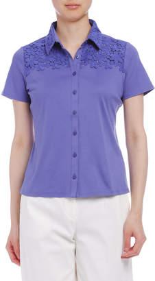 Naracamicie (ナラカミーチェ) - NARACAMICIE フラワーレースb 半袖カットソーシャツ ブルー 0
