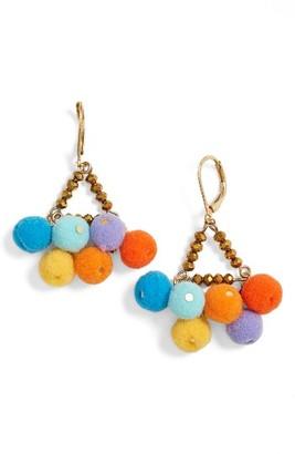 Women's Rebecca Minkoff Savanna Pompom Chandelier Earrings $58 thestylecure.com