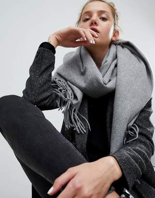 Asos Design Lambswool Oversized Scarf with Tassels