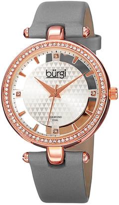 Burgi Women's Satin Diamond Watch