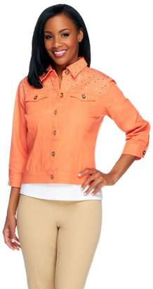 Joan Rivers Classics Collection Joan Rivers Cropped Embellished Denim Jacket w/ 3/4 Sleeves