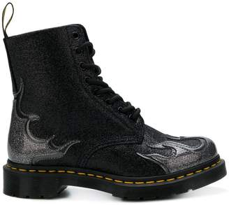 Dr. Martens flame-detail glittered boots