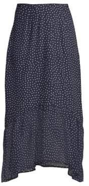 Rixo Leandra Polka Dot Silk Midi Flounce Skirt