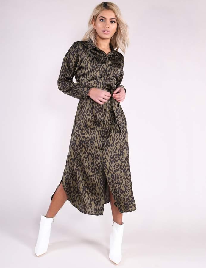 Khaki Leopard Print Belted Midi Shirt Dress