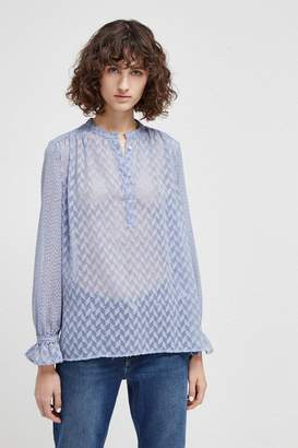 French Connenction Corsica Sheer Pop Over Blouse