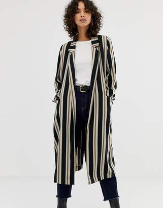 Asos Design DESIGN stripe duster coat