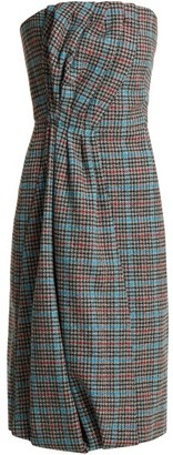 Prada Strapless Houndstooth Wool Blend Dress - Womens - Grey Multi