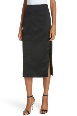 Milly Felicity Stretch Satin Side Slit Pencil Skirt