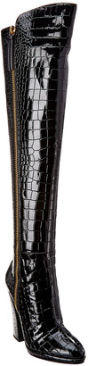 Giuseppe Zanotti Patent Croc-Embossed Leather Over-The-Knee Boot