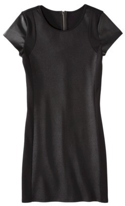Mossimo Women's Short Sleeve Ponte w/Faux Leather Dress - Black