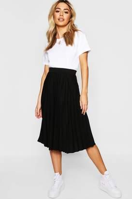 boohoo Petite Pleated Midi Skirt
