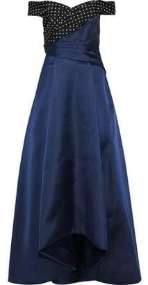 J. Mendel J.mendel Off-The-Shoulder Polka Dot-Paneled Silk-Blend Satin-Faille Gown