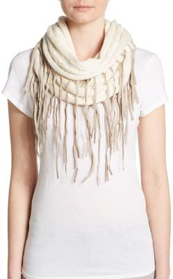 Chan LuuFringed Cable-Knit Infinity Scarf