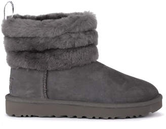 UGG Fluff Mini Grey Suede Leather Ankle Boots.