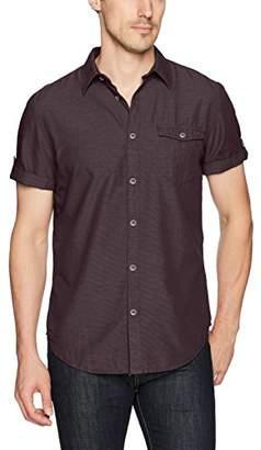 Calvin Klein Jeans Men's Short Sleeve Horizontal Grindle Texture Button Down Shirt