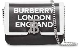 Burberry Small Painted Edge Logo Print Leather TB Bag
