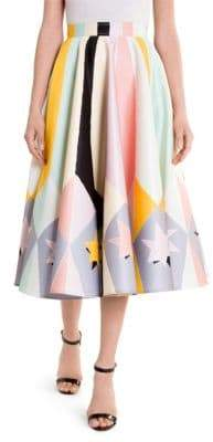 Emilio Pucci Duchess Satin Stars Circle Skirt