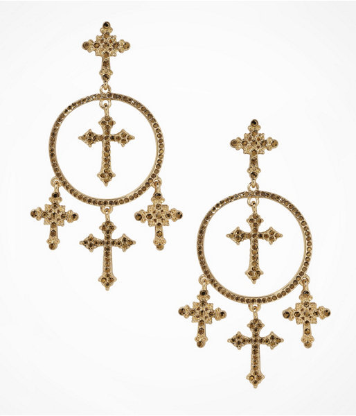 Express Cross And Hoop Post Drop Earrings